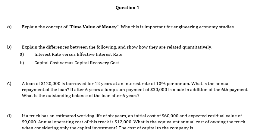 Solved: Question 1 A Explain The Concept Of
