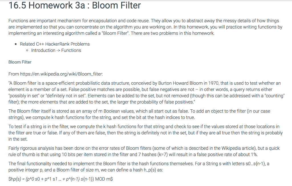 Solved: 16 5 Homework 3a Bloom Filter Functions Are Import