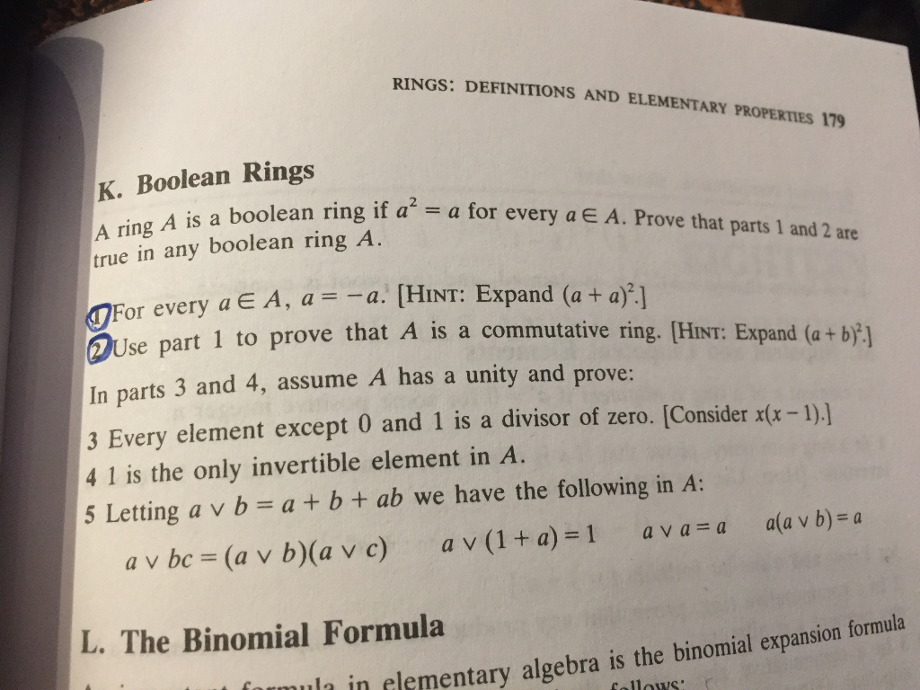 Solved: RINGS: DEFINITIONS AND ELEMENTARY PROPERTIES 179 B