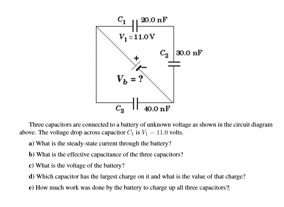 Solved: Three Capacitors Are Connected To A Battery Of Unk ...