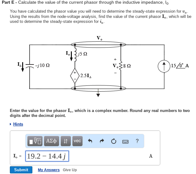 Electrical engineering archive november 29 2017 chegg part e calculate the value of the current phasor through the inductive impedance lo fandeluxe Image collections