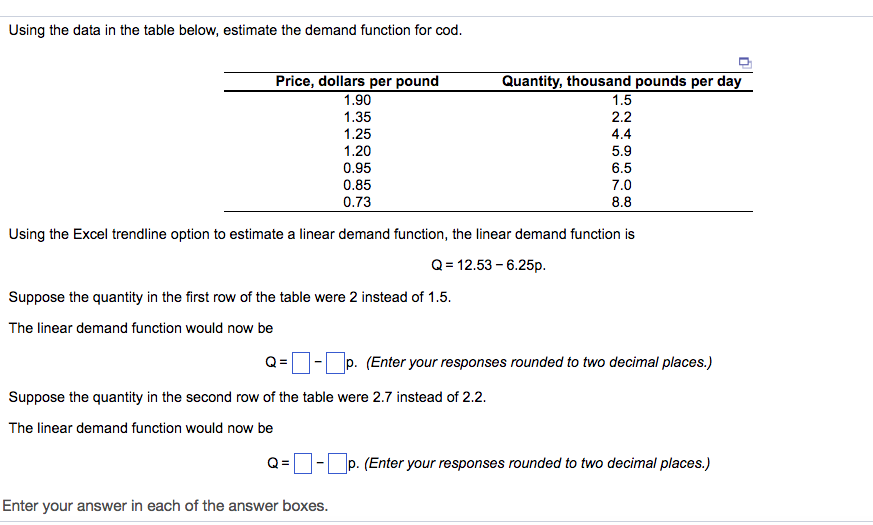 Using The Data In Table Below Estimate Demand Function For Cod Price