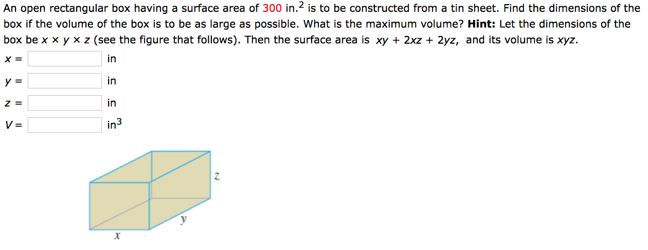 Solved An Open Rectangular Box Having A Surface Area Of 3