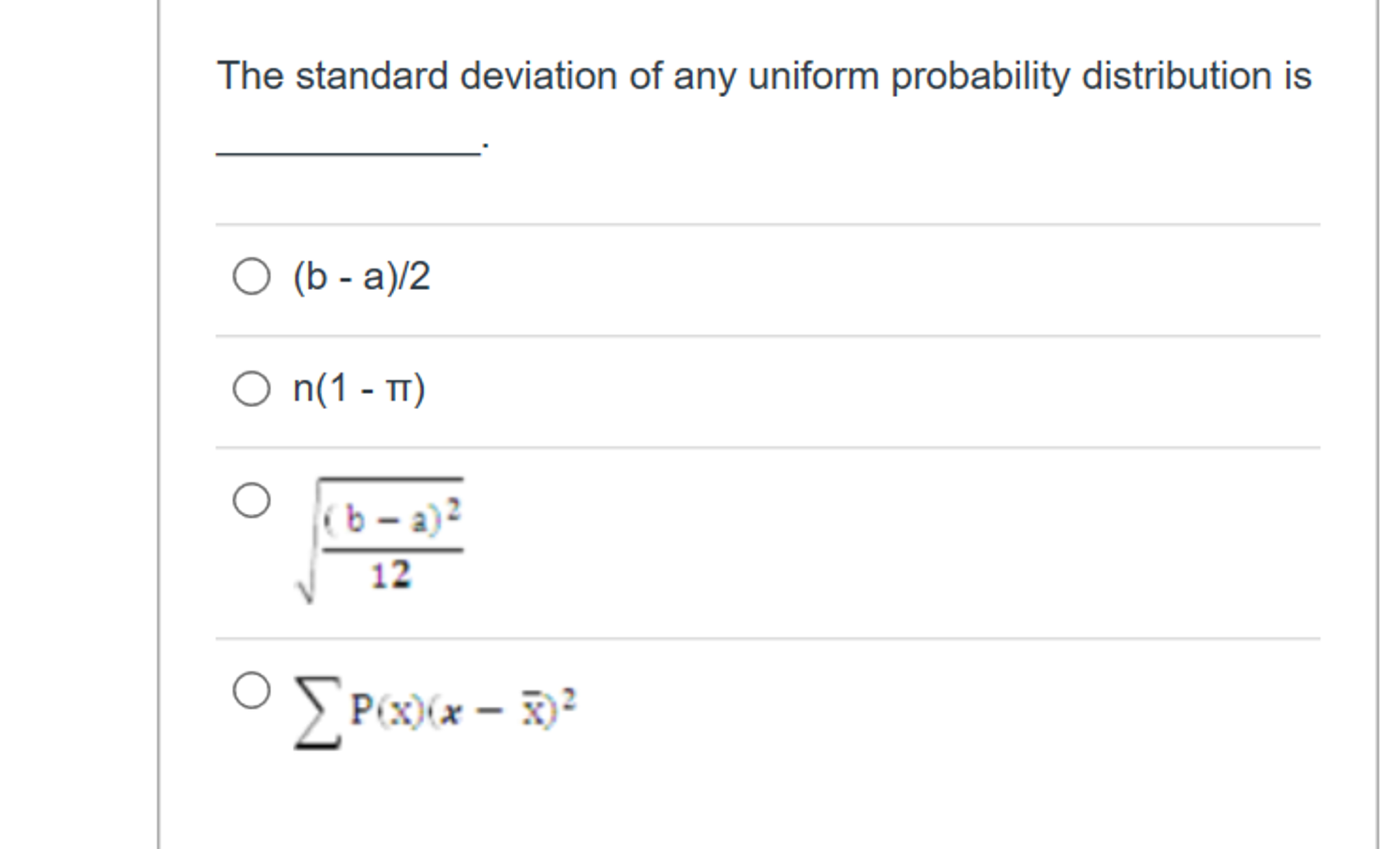 Solved: The Standard Deviation Of Any Uniform Probability