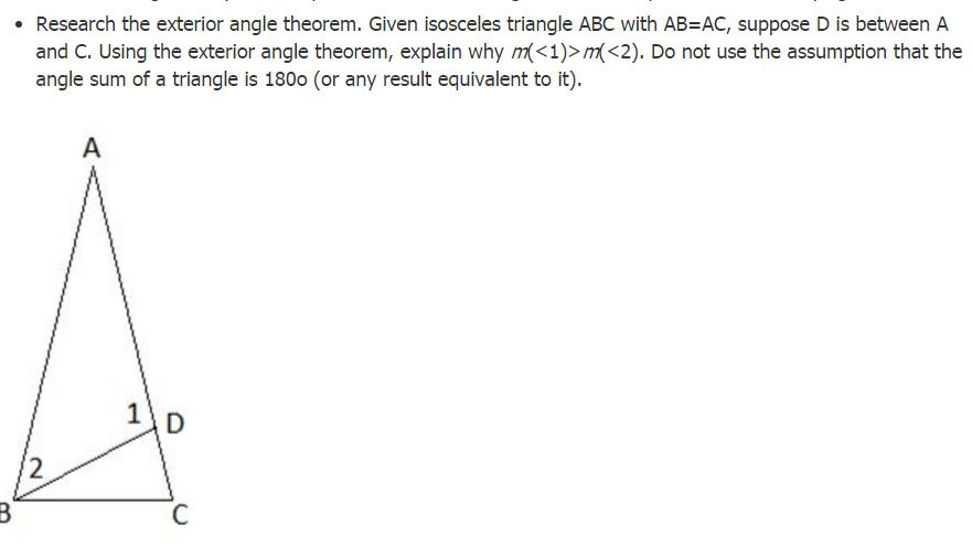 Question: Research The Exterior Angle Theorem. Given Isosceles Triangle ABC  With AB U003d AC, Suppose D Is Betw.
