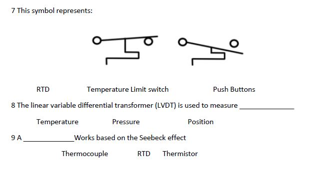 Great 7 This Symbol Represents: Temperature Limit Switch 8 The Linear Variable  Differential Transformer (LVDT
