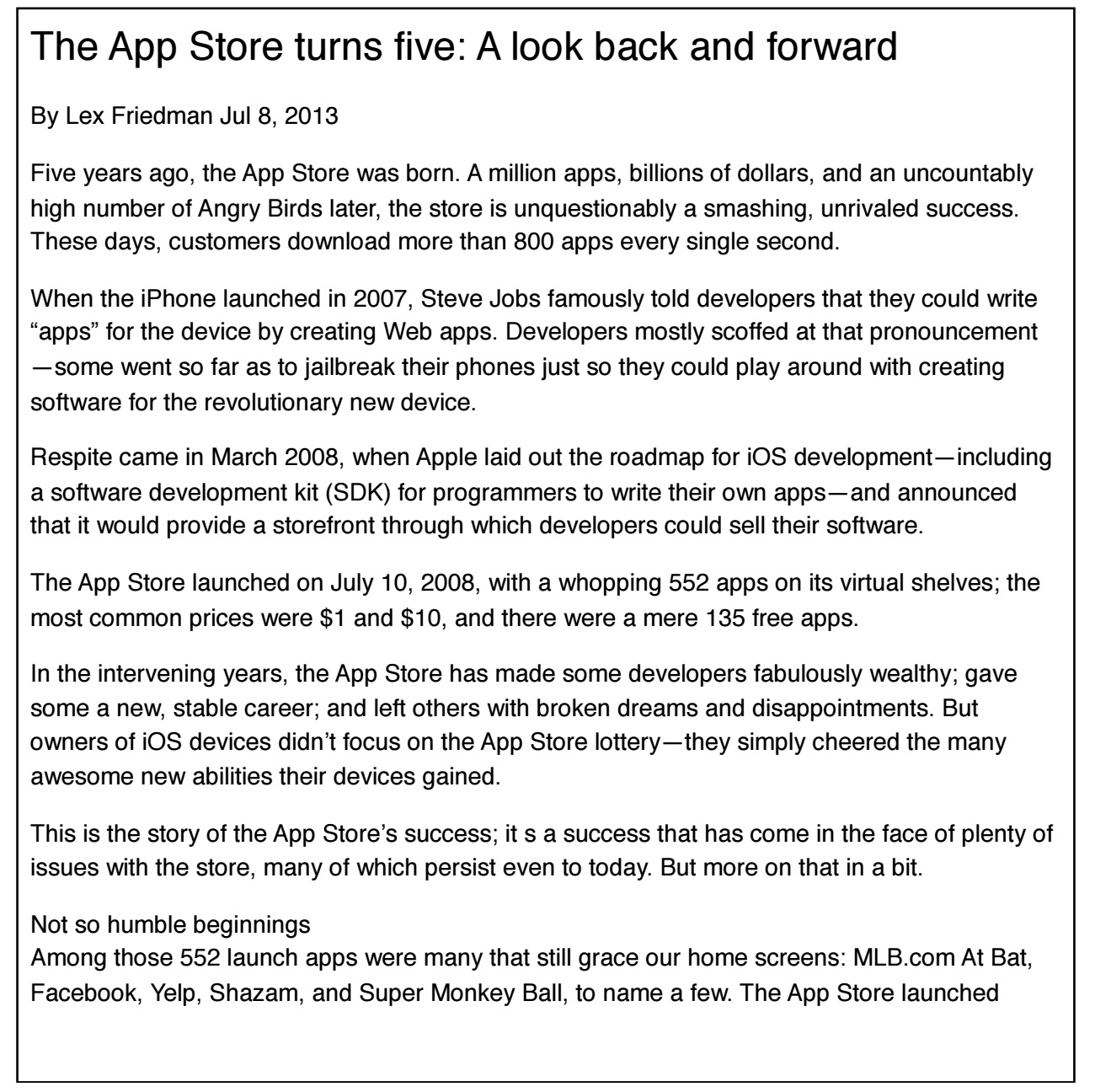 Solved: Read Part Of 2013 Macworld Article About Appstore