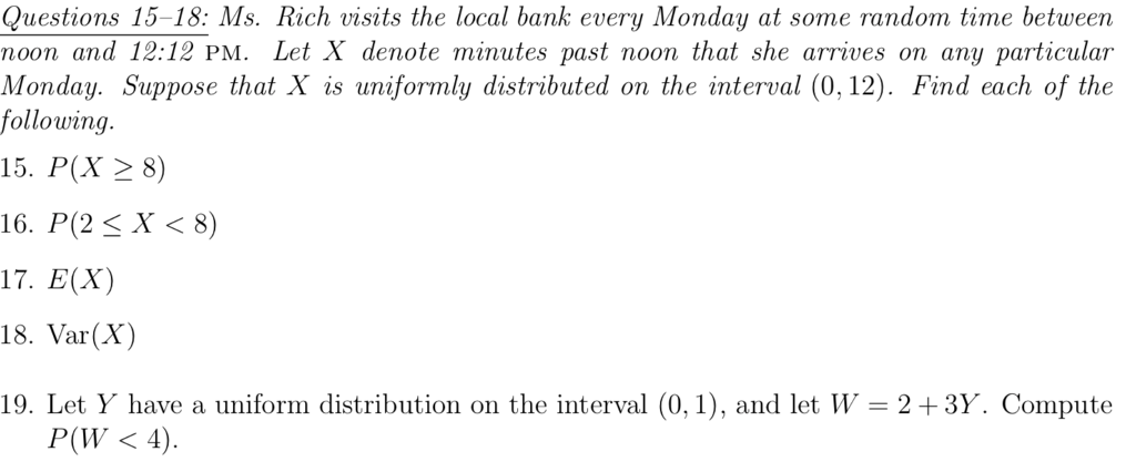questions 15 18 ms rich visits the local bank every monday at some