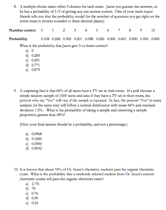 Solved: A Multiple Choice Exam Offers 5 Choices For Each E