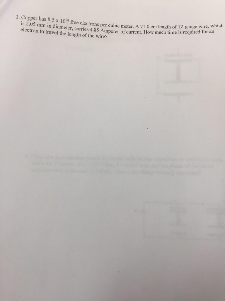 Solved: 3. Copper Has 8.5 X 102 Free Elec Mm In Diamens Pe ...