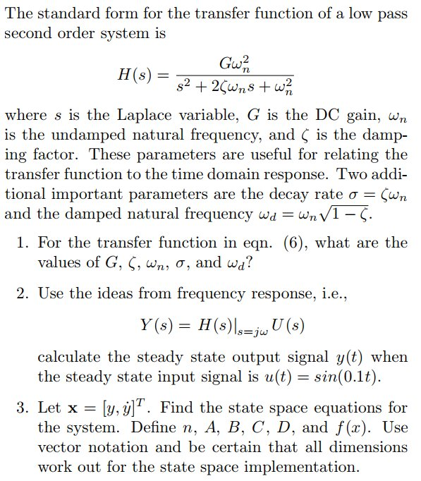 Solved The Standard Form For The Transfer Function Of A L