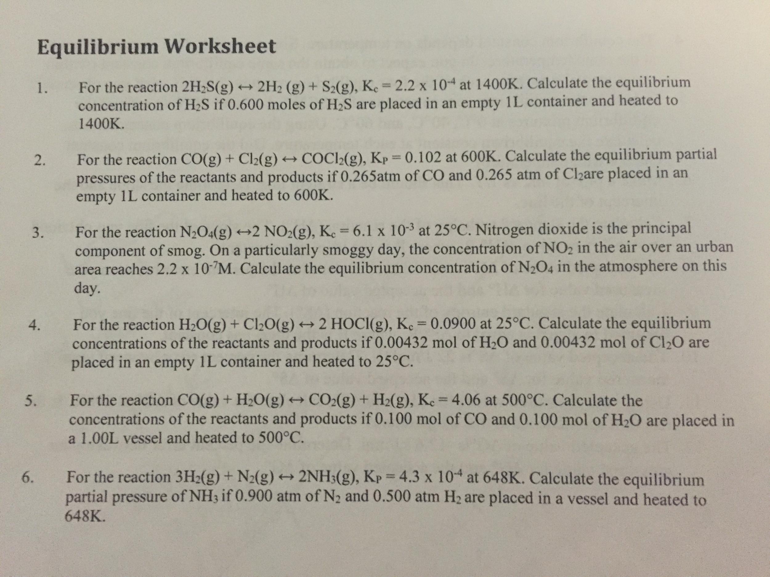 Solved: Equilibrium Worksheet For The Reaction 2H_2S(g) Le