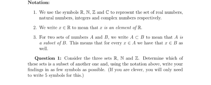 Solved We Use The Symbols R N Z And C To Represent The