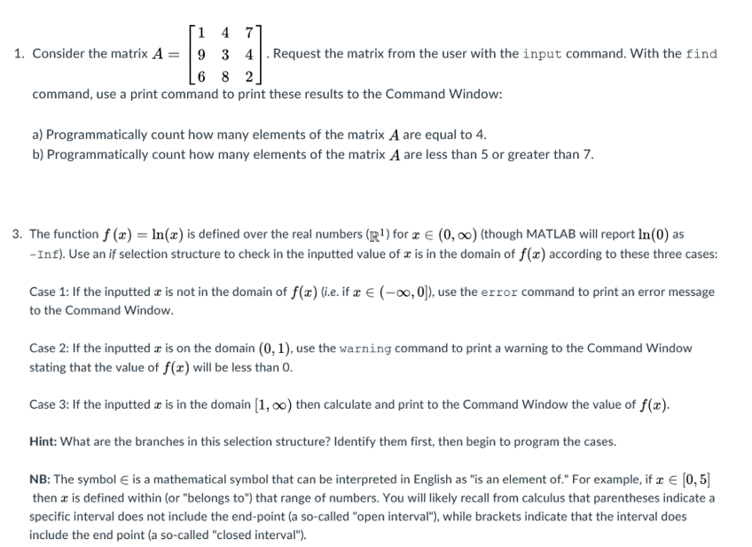Solved Complete Problem 1 And Problem 3 In Matlab Create