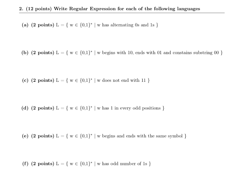 Solved 2 12 Points Write Regular Expression For Each O