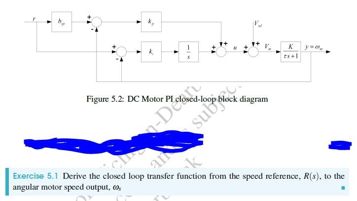 Solved xf figure 52 dc motor pi closed loop block diagr question xf figure 52 dc motor pi closed loop block diagram exercise 51 derive the closed loop transfer ccuart Gallery