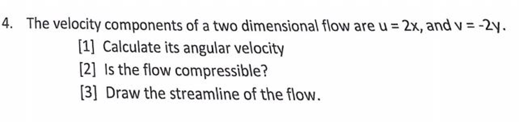 The Velocityponents Of A Two Dimensional Flow