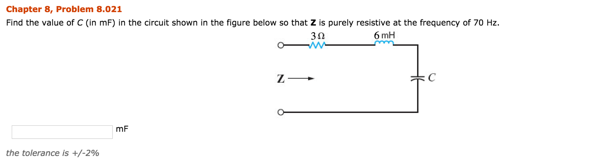 Electrical engineering archive november 20 2016 chegg chapter 8 problem 8012 find the impedance z shown in the figure below at a frequency of 400 hz 10 mh 2 n 10 ohm 10 hf t j fandeluxe Choice Image