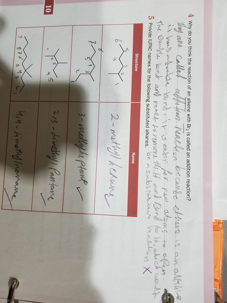 Solved 4 Why Do You Think The Reaction Of An Alkene With Pantane Br Is Called