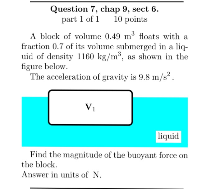 Solved: A Block Of Volume 0.49 M^3 Floats With A Fraction ...