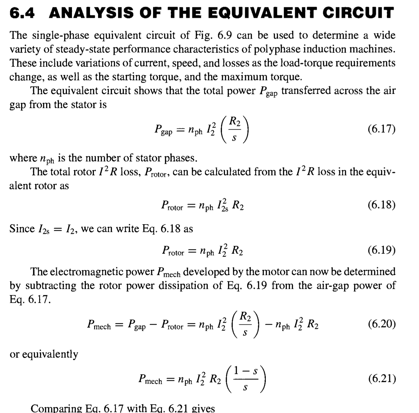 Induction Motor Equivalent Circuit A Three Phase Y And Determines The State Of By Comparing Equation