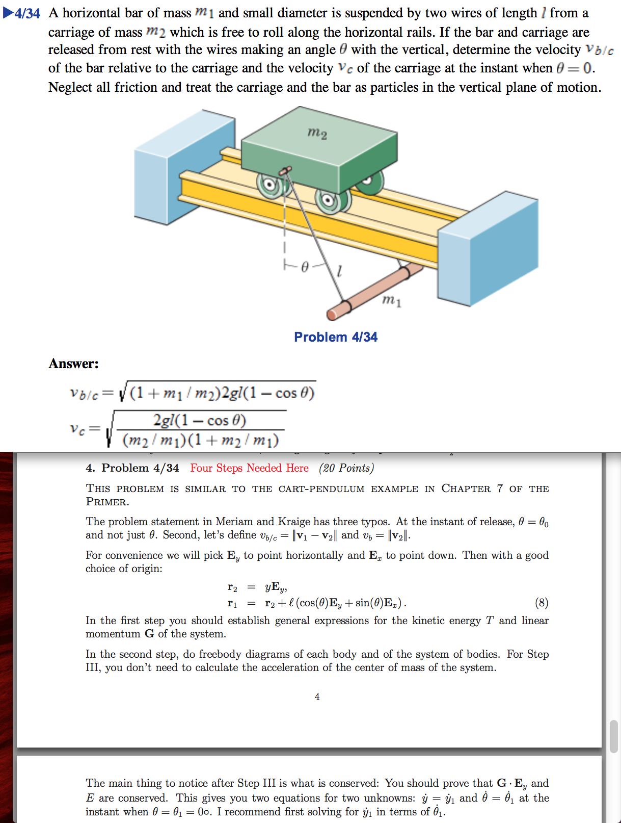 A horizontal bar of mass m1 and small diameter is