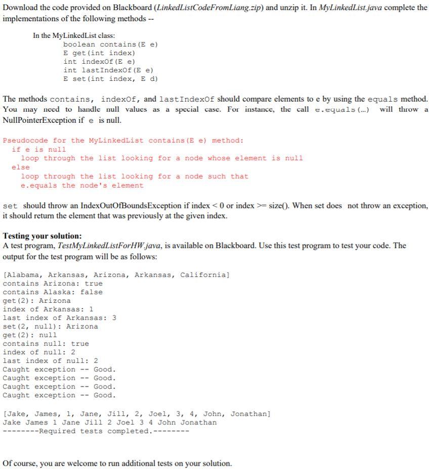 Solved: Linked List Problem LinkedListCodeFromLiang zip Fi