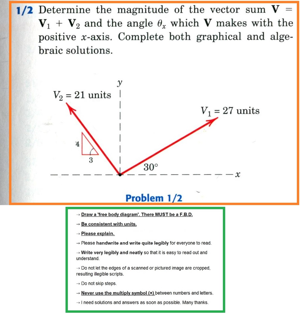 Solved 1 2 Determine The Magnitude Of Vector Sum V Freebody Diagram Is A Simple With Arrows To Represent V1 V2 And