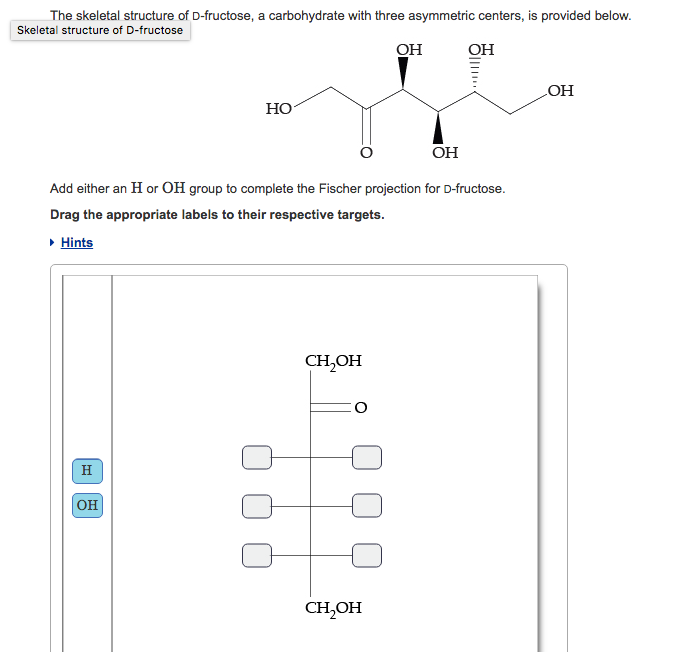 Solved The Skeletal Structure Of D Fructose A Carbohydra