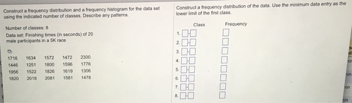 construct a frequency distribution of the data