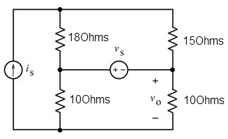 solved the inputs to this circuit are the current source18ohms 15ohms 100hms vo10ohms the inputs to this circuit are the current source