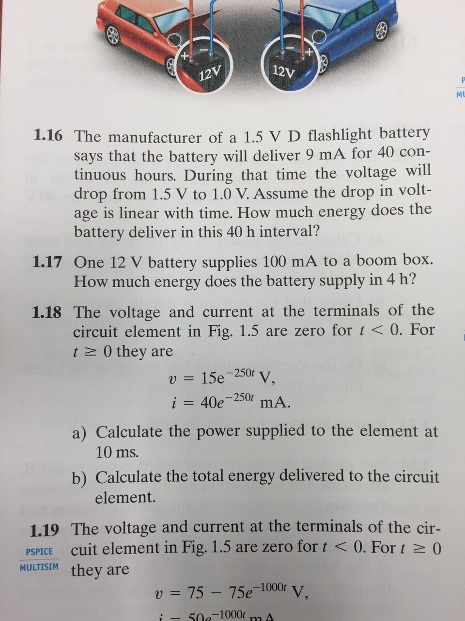 Solved 116 The Manufacturer Of A 15 V D Flashlight Batt Say Battery Is Supplying 12 Volts To Circuit Image For Says That Will