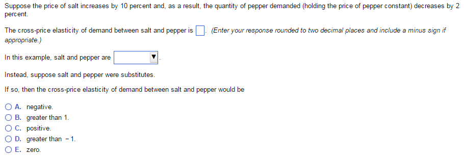 Solved Suppose The Price Of Salt Increases By 10 Percent