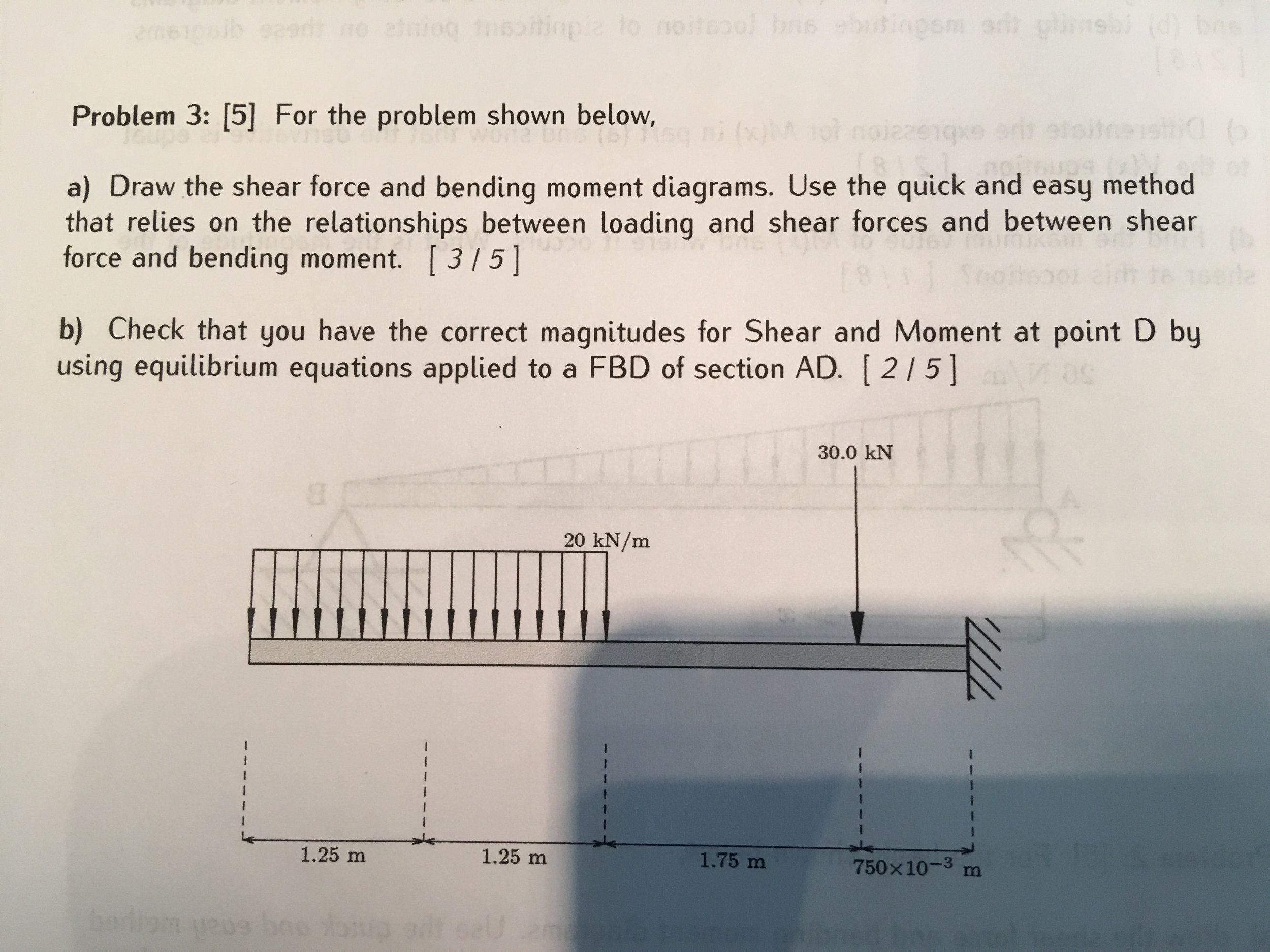 Solved Problem 3 5 For The Shown Below A Dra Draw Shear Force And Bending Moment Diagrams Cheggcom Question