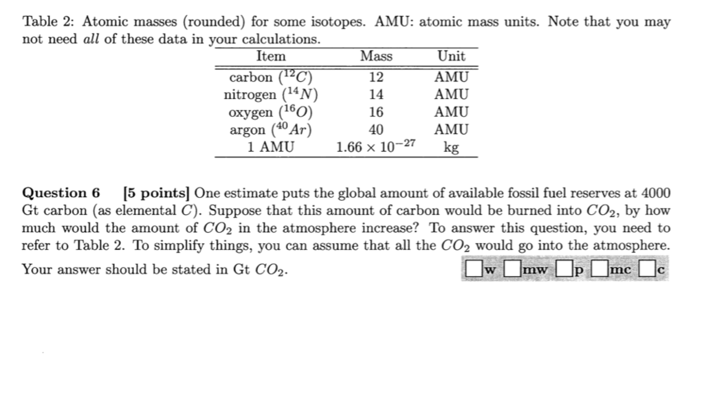 Solved: Table 2: Atomic Masses (rounded) For Some Isotopes