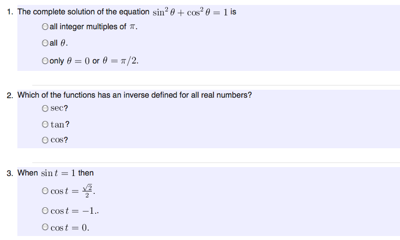 Solved The Complete Solution Of The Equation Sin2 Theta Chegg Com