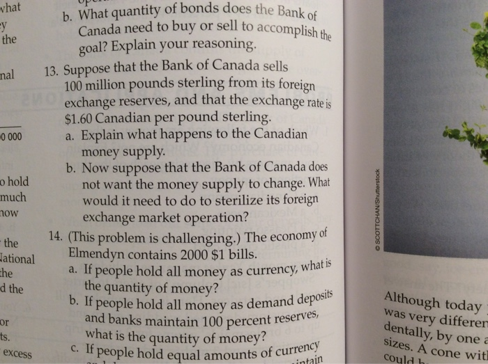 Solved: Suppose That The Bank Of Canada Sells 100 Million