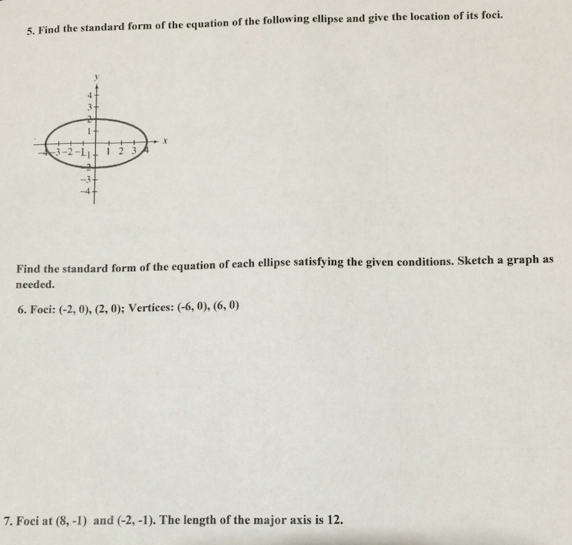 Solved Find The Standard Form Of The Equation Of The Foll