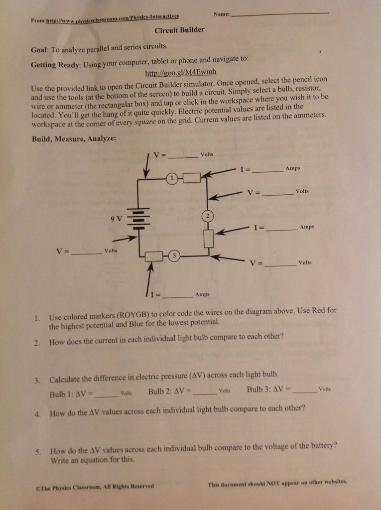 Solved: From Http:/lwww M/Physics-In Name: Circuit Builder ...