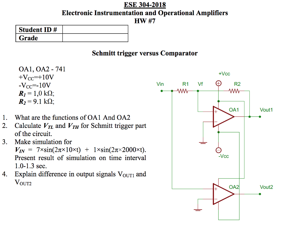 Solved Ese 304 2018 Electronic Instrumentation And Operat 741 Operational Amplifier Circuits Amplifiers Hw 7 Student Id Grade