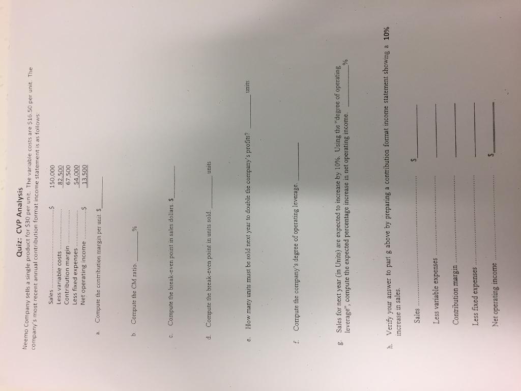 Quiz CVP Analysis Neemo Company sells a