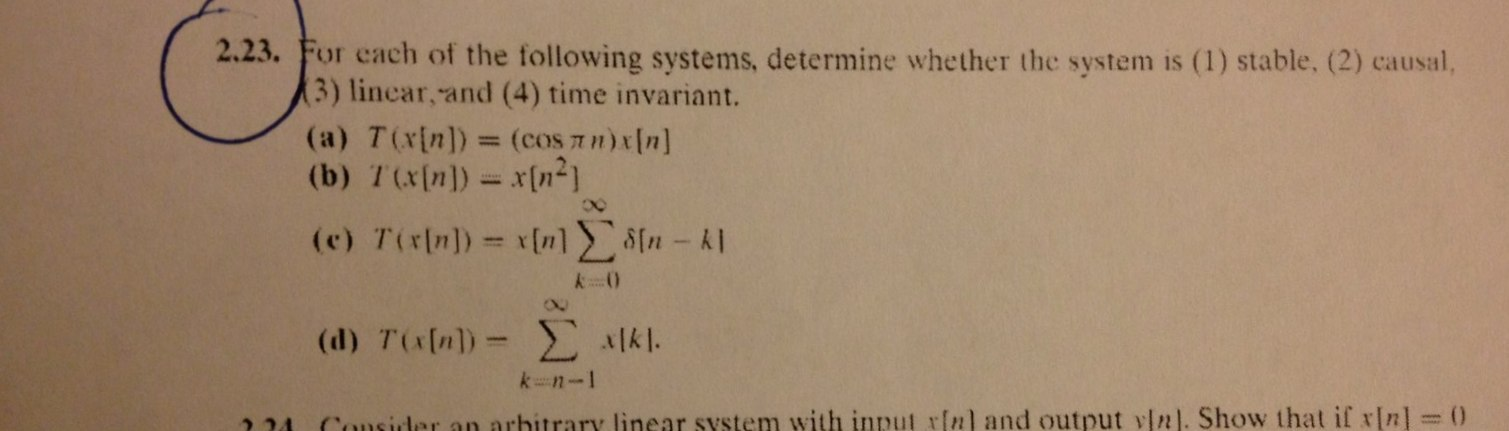 For each of the following systems, determine wheth