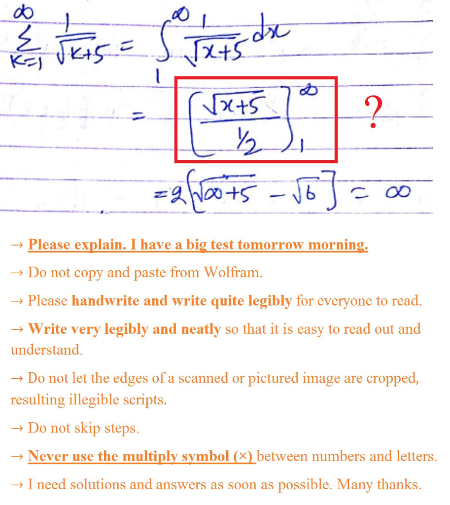 Solved Sigmainfinityk 1 1squareroot L 5 Integral
