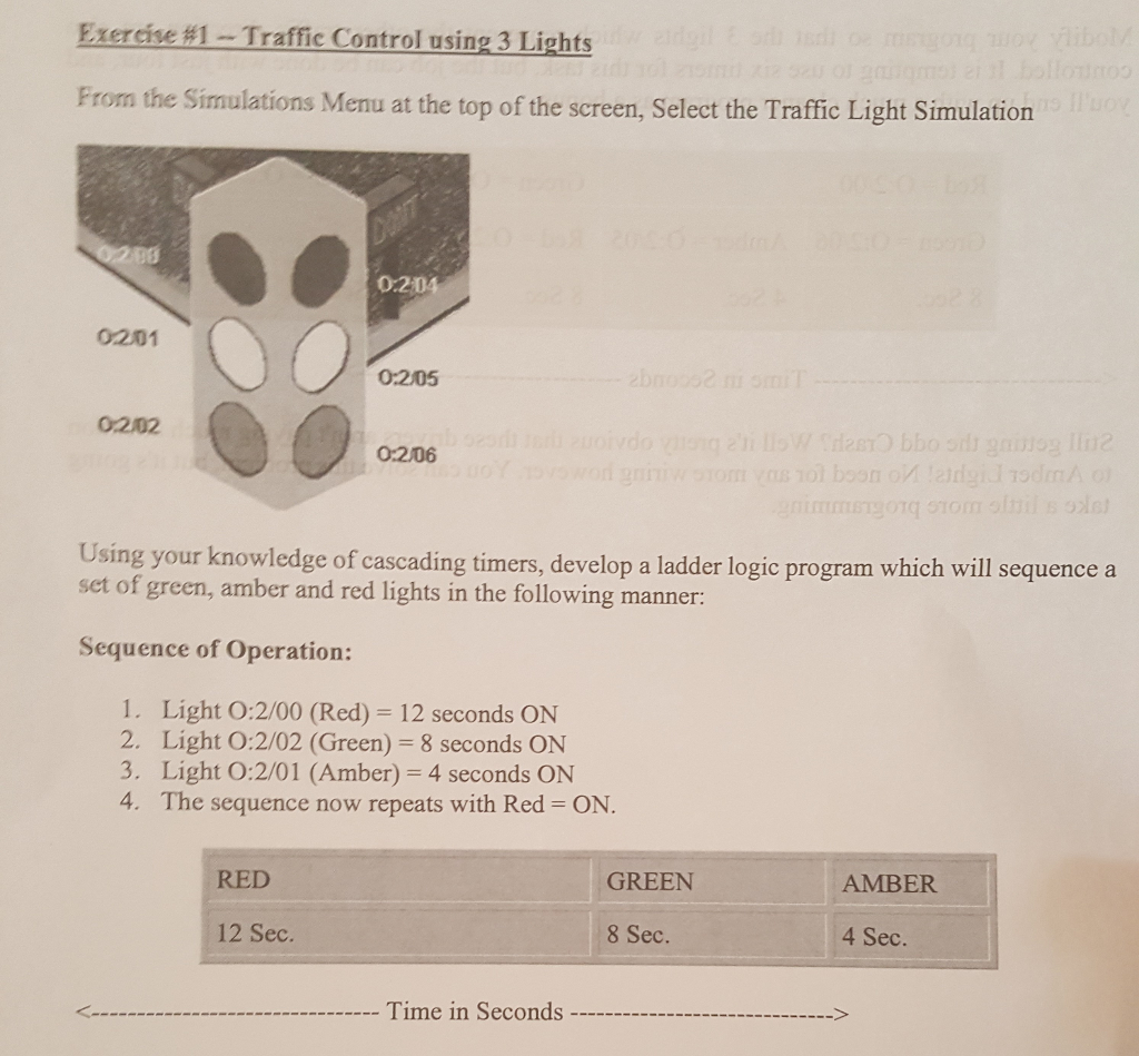 Exercise 81 Traffic Control Using 3 Lights From Th Light Ladder Diagram The Simulations Menu At Top Of