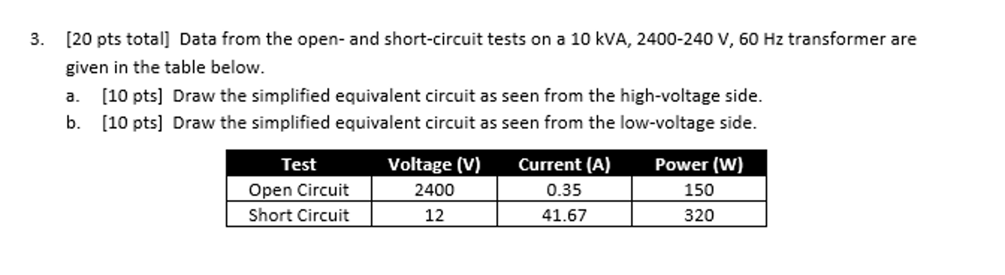 Solved Data From The Open And Short Circuit Tests On A 1 Test For Transformer