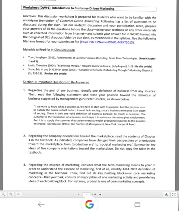 Solved: Worksheet (DW#1): Introduction To Customer-Driven ...