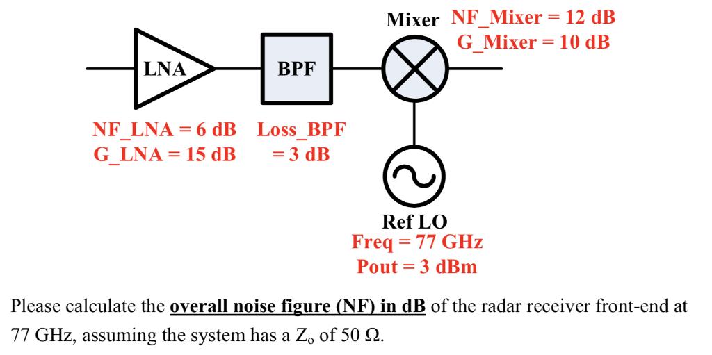 Solved: Mixer NF-Mixer= 12 DB G Mixer 10 DB LNA BPF NFLNA