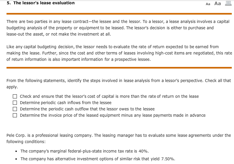 Solved 5 The Lessors Lease Evaluation Aa Aa There Are T