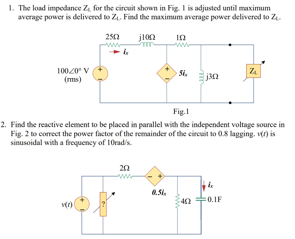 1. The load impedance Zi for the circuit shown in Fig. 1 is adjusted until maximum average power is delivered to ZL. Find the maximum average power delivered to ZL. 25Ω j10Ω 162 j3Ω rms Fig.1 2. Find the reactive element to be placed in parallel with the independent voltage source in Fig. 2 to correct the power factor of the remainder of the circuit to 0.8 lagging. sinusoidal with a frequency of 10Orad/s. is 2Ω 0.5ix v(t) 422 0.1F