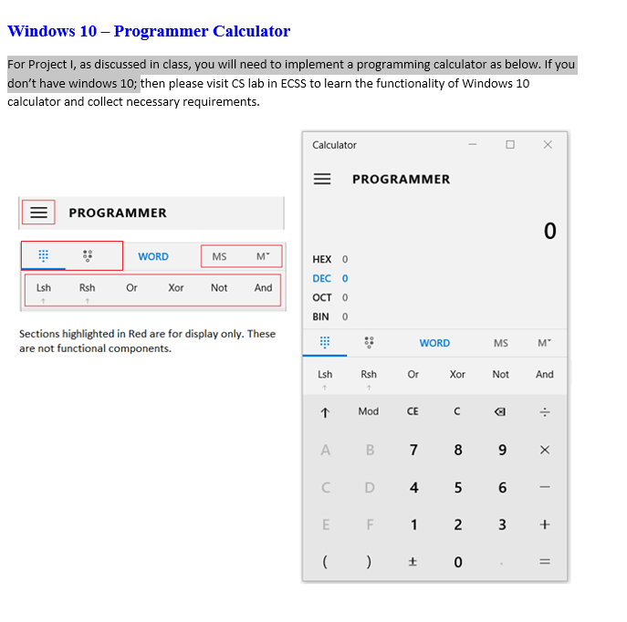 Windows 10 – Programmer Calculator For Project I,     | Chegg com
